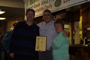 Nigel & Sharon being presented with Trafford & Hulme Camra Club of the Year award